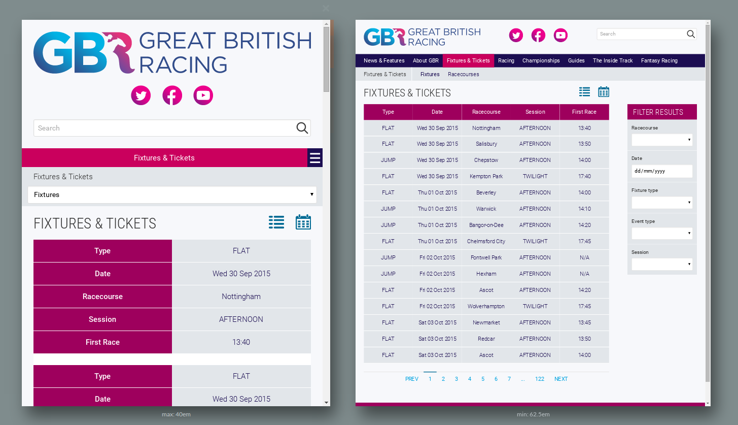 Great British Racing Website responsivity
